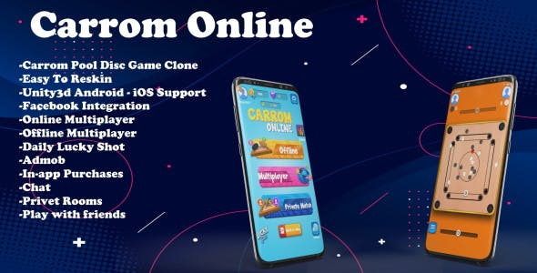 Carrom Online(Unity Game+Admob+iOS+Android)