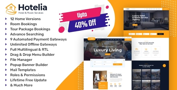 Hotelia - Hotel Booking / Resort Booking Management Website - CodeCanyon Item for Sale
