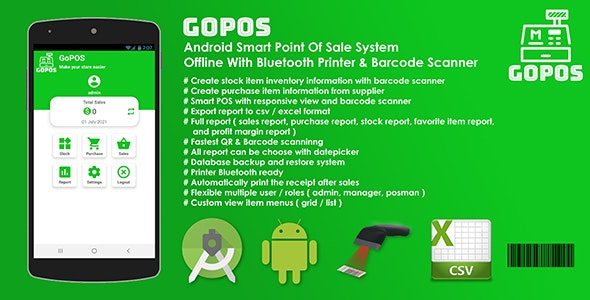 GoPOS Offline - Android Smart Point Of Sale System With Bluetooth Printer & Barcode Scanner