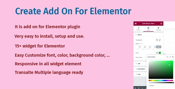 Create Add On For Elementor - CodeCanyon Item for Sale