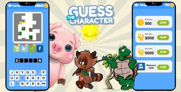 Guess The Character Construct 3 HTML5 Word Puzzle Game + 50 Levels + InApp Purchase + Admob Ads