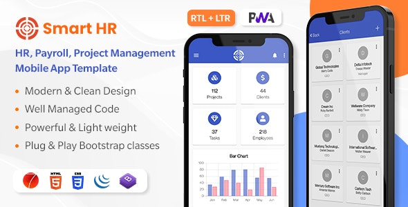 SmartHR - HR, Payroll, Project, Accounts & Employee Management System - Ionic Mobile App Template - CodeCanyon Item for Sale