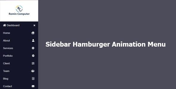 Sidebar Hamburger Animation Menu - CodeCanyon Item for Sale
