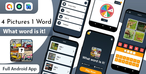 What word is it - 4 Pictures 1 Word Trivia game with admob ready to publish - CodeCanyon Item for Sale