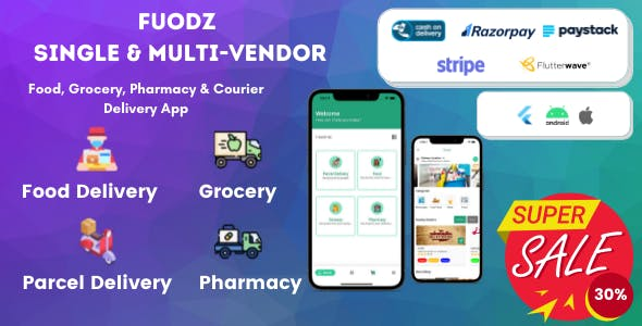 Fuodz – Grocery, Food, Pharmacy Courier Delivery App + Backend + Driver & Vendor app