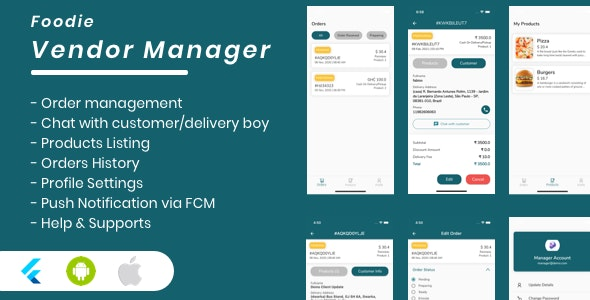 Foodie Vendor Manager for Groceries, Foods, Pharmacies, Stores Flutter App - CodeCanyon Item for Sale