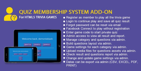 Quiz Membership System Add-On - CodeCanyon Item for Sale