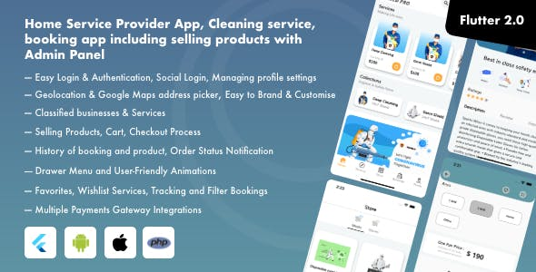 Home Service Provider App, Cleaning service, booking app including selling products with Admin Panel