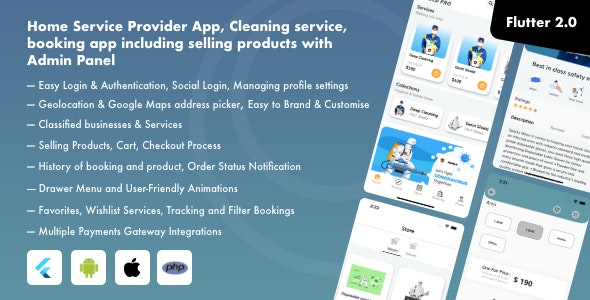 Home Service Provider App, Cleaning service, booking app including selling products with Admin Panel - CodeCanyon Item for Sale