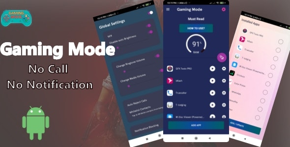 Gaming Mode - No Call & Notification Android app with AdMob - CodeCanyon Item for Sale