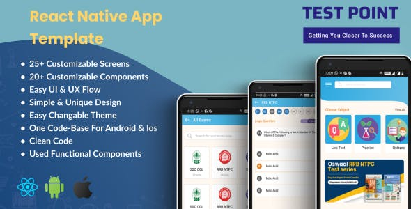 Test Point - React Native E-Learning App Template