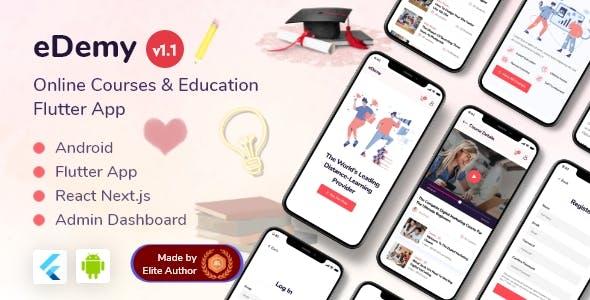 Online Courses & Education Flutter App + React Next Dashboard - eDemy