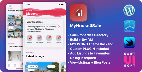 MyHouse4Sale V1.43 - Real Estate IOS Companion App for MyListing WordPress Backend + Plugin. - CodeCanyon Item for Sale