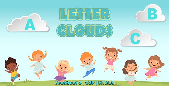 Letter Clouds Game (Construct 3 | C3P | HTML5) Kids Educational English Alphabet Game