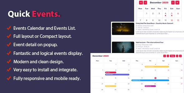 Quick Events For WordPress - CodeCanyon Item for Sale