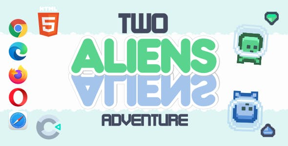 Two Aliens Adventure - HTML5 Game (Construct 3)
