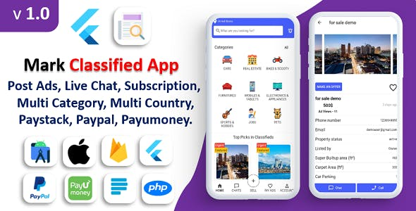 Mark Classified App | Classified App | Multi Payment Gateways Integrated | Buy & Sell | Subscription