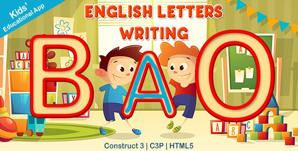 English Capital Letters Writing App (Construct 3 | C3P | HTML5) Kids Educational Game