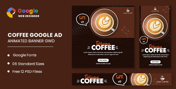 Coffee Drink Animated Banner Google Web Designer - CodeCanyon Item for Sale