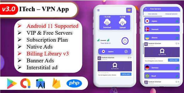 ITech VPN App | VPN unblock Proxy | VPN Secure Servers | Admin Panel | Admob Ads