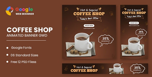 Coffee Shop Animated Banner Google Web Designer - CodeCanyon Item for Sale