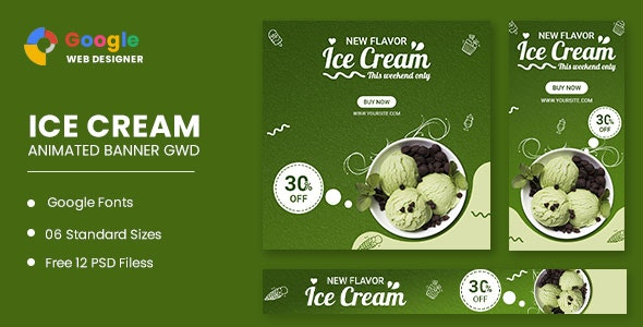 Ice Cream Animated Banner Google Web Designer - CodeCanyon Item for Sale