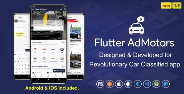Flutter AdMotors For Car Classified BuySell iOS and Android App with Chat ( 1.9 )