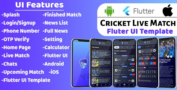 Cricket Live Match UI Template   Flutter 2.0   - CodeCanyon Item for Sale