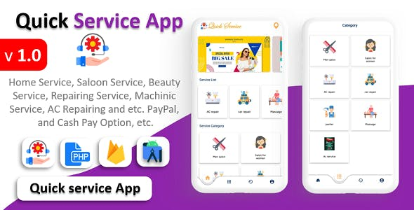 Quick Service App | Home Service | Home Cleaning | Multi Payment Gateways Integrated | Multi Login