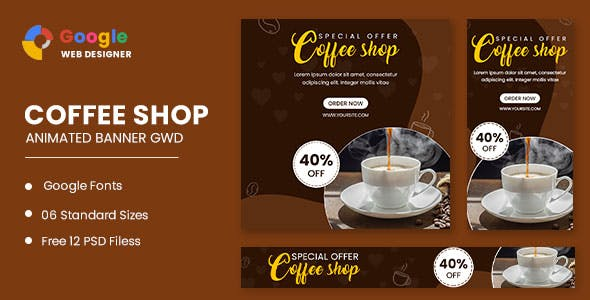 Coffee Shop Animated Banner Google Web Designer