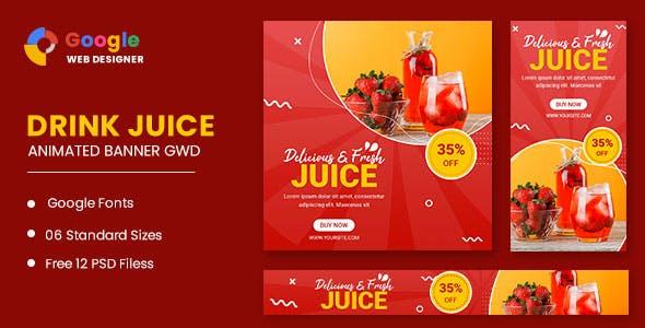 Drink Juice Animated Banner Google Web Designer