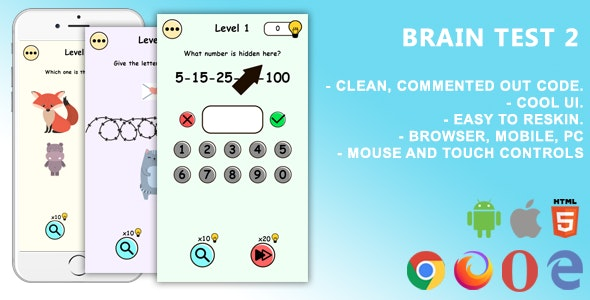 Brain Test 2. Mobile, Html5 Game .c3p (Construct 3) - CodeCanyon Item for Sale
