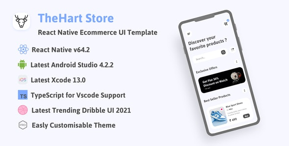 TheHart Store   React Native Ecommerce App Template UI with tiktok scroll products videos - CodeCanyon Item for Sale