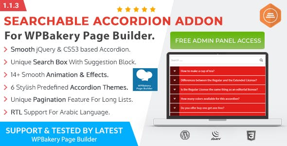 Ultimate Searchable Accordion - WPBakery Page Builder Addon