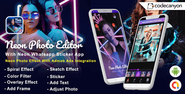 Android Neon Photo Editor with Whatsapp Sticker - Neon Spiral Light Effect (Android 10 Supported) - CodeCanyon Item for Sale