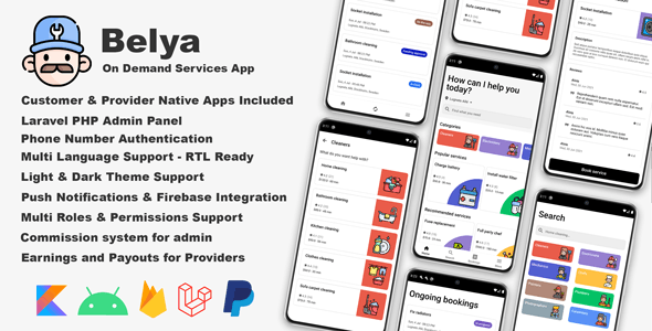 Belya - On Demand Service App | Customer & Provider Apps with Admin Panel