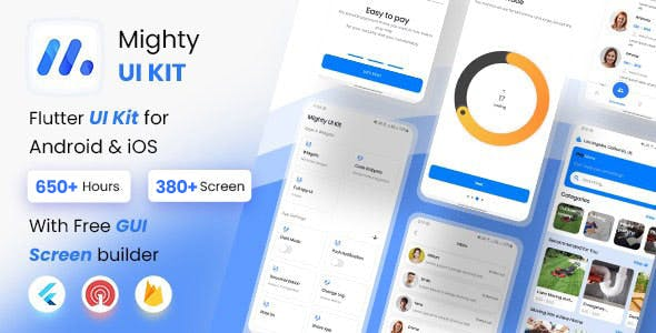 MightyUIKit - Flutter 2.0 UI Kit with Screen Builder