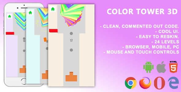 Color Tower 3D. Mobile, Html5 Game .c3p (Construct 3) - CodeCanyon Item for Sale