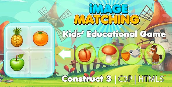 Image Matching Kids Learning Game (Construct 3 | C3P | HTML5) Educational Game
