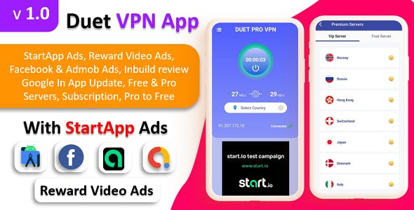 Duet Pro VPN App | Secure VPN App & Fast VPN | Subscription | StartApp Ads | Facebook & Admob Ads