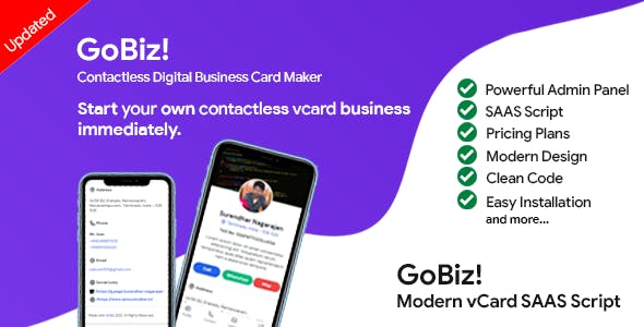 GoBiz - Digital Business Card Maker | Saas | vCard Builder
