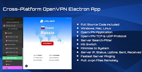 Brandable OpenVPN Electron GUI JS App Theme with Kill Switch, VPN Management and Remote Server Pull