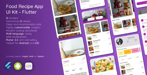 Food Recipes App UI Kit - Flutter - CodeCanyon Item for Sale