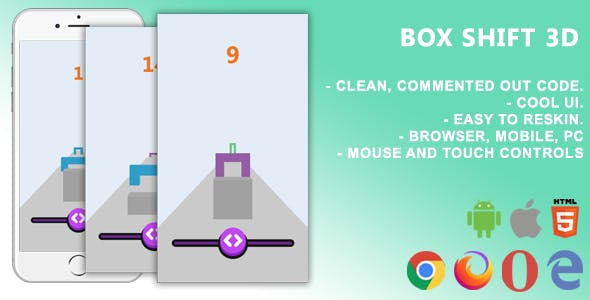 Box Shift 3D. Mobile, Html5 Game .c3p (Construct 3)
