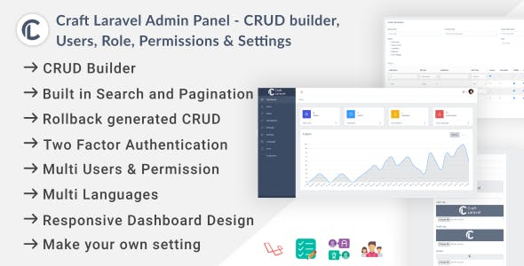 Craft Laravel Admin Panel - CRUD builder, Users, Role, Permissions & Settings