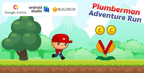 Plumberman Adventure Run Game (Android Studio Project + Buildbox Project + AdMob Ads)