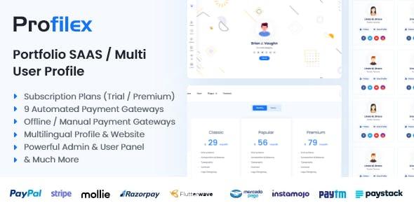 Profilex - Portfolio Builder SAAS / Multi-User Profile
