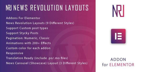 News Revolution Layouts for Elementor v1.0 – WordPress Plugin