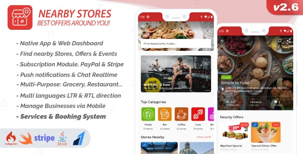 Nearby Stores Android - Offers, Events, Multi-Purpose, Restaurant, Services & Booking 2.6.3 - CodeCanyon Item for Sale