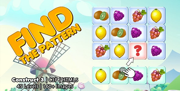 Find The Pattern Kids Learning Game (Construct 3 | C3P | HTML5) Educational Puzzle Game - CodeCanyon Item for Sale
